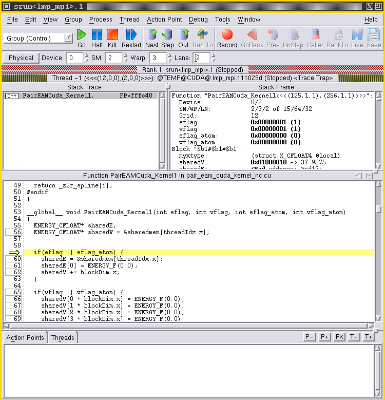 Product image: Debugging CUDA application that shows the Warp, Lane and other  specific inf