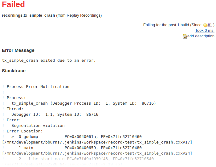 Finding test failures in Jenkins CI by replaying test program
