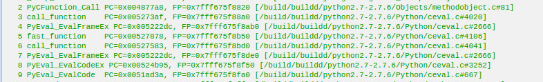 Sample of the stack trace