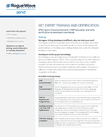 Training and certification for zend portfolio rogue wave training and certification for zend portfolio fandeluxe Image collections